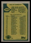 1989 Topps #382   -  Steve Pelluer / Herschel Walker / Ray Alexander / Garry Cobb / Danny Noonan / Bill Bates Cowboys Leaders Back Thumbnail
