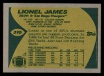 1989 Topps #310  Lionel James  Back Thumbnail