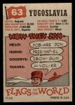 1956 Topps Flags of the World #63   Yugoslavia Back Thumbnail
