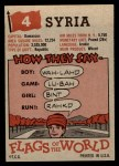 1956 Topps Flags of the World #4   Syria Back Thumbnail