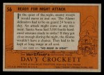 1956 Topps Davy Crockett #56   Ready for Night Attack  Back Thumbnail