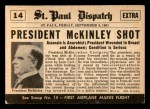1954 Topps Scoop #14   President Mckinley Shot  Back Thumbnail