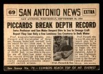 1954 Topps Scoop #69   Piccard Descends 2 Miles Under  Back Thumbnail