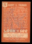 1952 Topps Look 'N See #5  Harry Truman  Back Thumbnail
