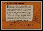 1956 Topps Davy Crockett Orange Back #7   Alerted For Danger  Back Thumbnail