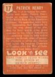 1952 Topps Look 'N See #17  Patrick Henry  Back Thumbnail