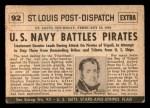 1954 Topps Scoop #92   U.S. Navy Battles Pirates Back Thumbnail