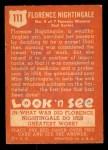 1952 Topps Look 'N See #111  Florence Nightingale  Back Thumbnail