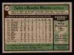 1979 Topps #449  Bombo Rivera  Back Thumbnail