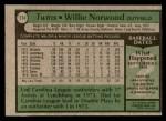 1979 Topps #274  Willie Norwood  Back Thumbnail
