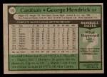 1979 Topps #175  George Hendrick  Back Thumbnail