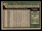 1979 Topps #675  Tim McCarver  Back Thumbnail