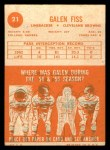 1963 Topps #21  Galen Fiss  Back Thumbnail