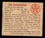 1950 Bowman #62  Ted Kluszewski  Back Thumbnail