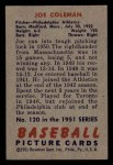 1951 Bowman #120  Joe Coleman  Back Thumbnail