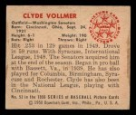 1950 Bowman #53  Clyde Vollmer  Back Thumbnail