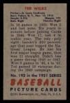 1951 Bowman #193  Ted Wilks  Back Thumbnail