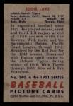 1951 Bowman #140  Eddie Lake  Back Thumbnail