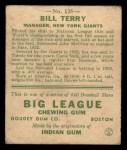 1933 Goudey #125  Bill Terry  Back Thumbnail
