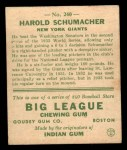 1933 Goudey #240  Hal Schumacher  Back Thumbnail