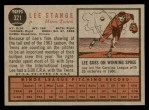 1962 Topps #321  Lee Stange  Back Thumbnail