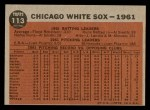 1962 Topps #113 GRN  White Sox Team Back Thumbnail