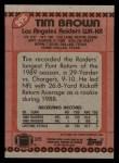 1990 Topps #295  Tim Brown  Back Thumbnail