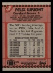 1990 Topps #169  Felix Wright  Back Thumbnail