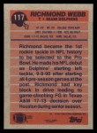 1991 Topps #117  Richmond Webb  Back Thumbnail