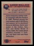 1991 Topps #92  Aaron Wallace  Back Thumbnail