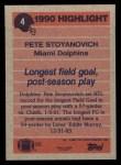 1991 Topps #4  Pete Stoyanovich  Back Thumbnail