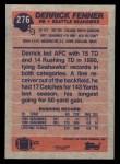 1991 Topps #276  Derrick Fenner  Back Thumbnail