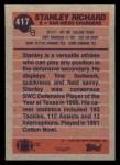 1991 Topps #417  Stanley Richard  Back Thumbnail