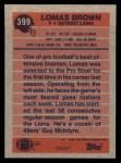 1991 Topps #399  Lomas Brown  Back Thumbnail