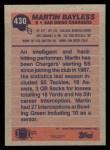 1991 Topps #430  Martin Bayless  Back Thumbnail