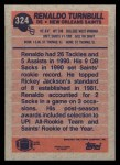 1991 Topps #324  Renaldo Turnbull  Back Thumbnail