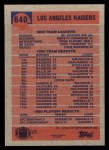 1991 Topps #640   -  Marcus Allen / Bo Jackson / Mervyn Fernandez / Greg Townsend / Eddie Anderson  Raiders Leaders Back Thumbnail