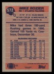 1991 Topps #572  Mike Rozier  Back Thumbnail