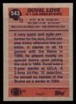 1991 Topps #543  Duval Love  Back Thumbnail