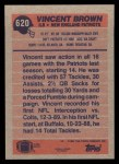 1991 Topps #620  Vincent Brown  Back Thumbnail
