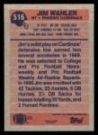 1991 Topps #516  Jim Wahler  Back Thumbnail