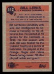 1991 Topps #512  Bill Lewis  Back Thumbnail