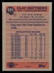1991 Topps #591  Clay Matthews  Back Thumbnail