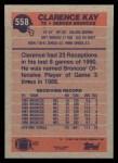 1991 Topps #558  Clarence Kay  Back Thumbnail