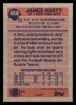 1991 Topps #480  James Hasty  Back Thumbnail