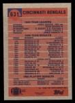 1991 Topps #631   -  Stanford Jennings / James Brooks / Eddie Brown / Barney Bussey / David Fulcher / James Francis  Bengals Leaders Back Thumbnail