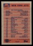 1991 Topps #647   -  Pat Leahy / Blair Thomas / Al Toon / Erik McMillan / Dennis Byrd / Kyle Clifton Jets Leaders Back Thumbnail