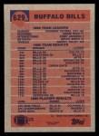 1991 Topps #629   -  Jeff Wright / Thurman Thomas / Andre Reed / Kirby Jackson / Bruce Smith / Darryl Talley Bills Leaders Back Thumbnail