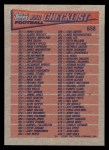 1991 Topps #658   Checklist 265-396 Back Thumbnail