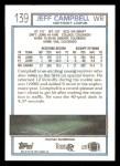1992 Topps #139  Jeff Campbell  Back Thumbnail